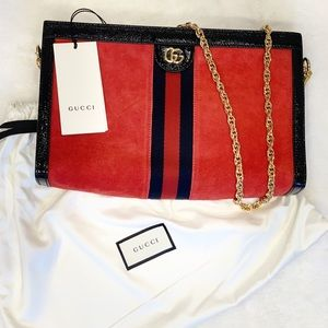 NWT Gucci Ophidia Crossbody Gold Chain Red Suede